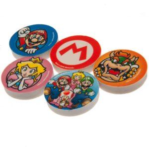 Super Mario 5pk Eraser Set