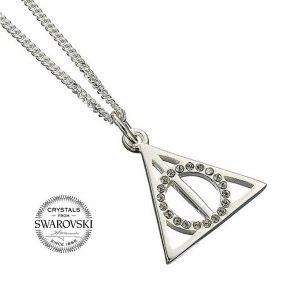 Harry Potter Sterling Silver Swarovski Necklace Deathly Hallows