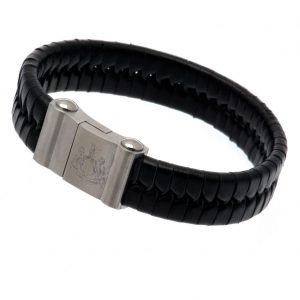 Newcastle United FC Single Plait Leather Bracelet