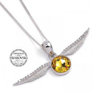 Harry Potter Sterling Silver Swarovski Necklace Golden Snitch