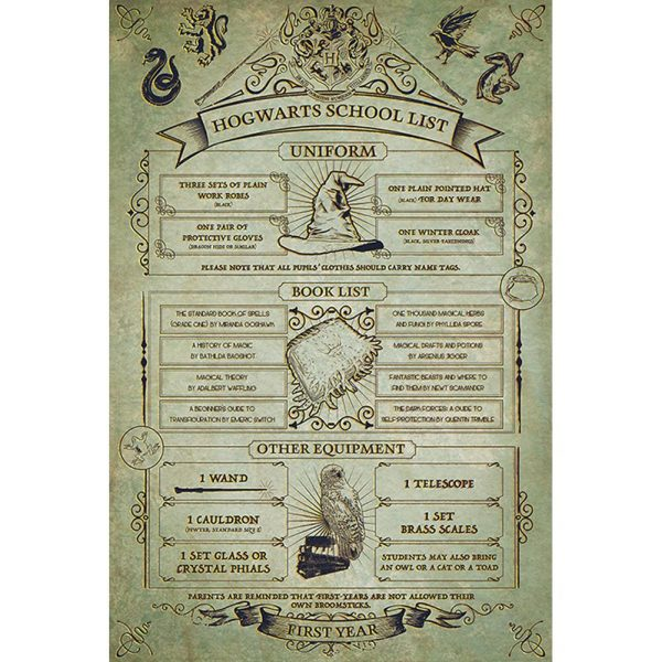 Harry Potter Poster Hogwarts School List 77