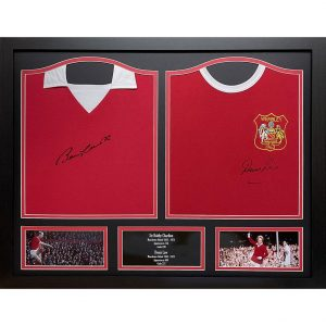 Manchester United FC Charlton & Law Signed Shirts (Dual Framed)