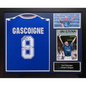 Rangers FC Gascoigne Signed Shirt (Framed)