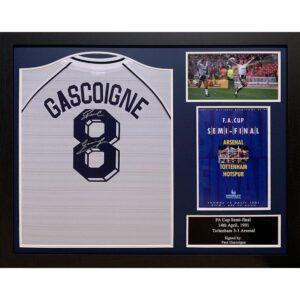 Tottenham Hotspur FC Gascoigne Signed Shirt (Framed)