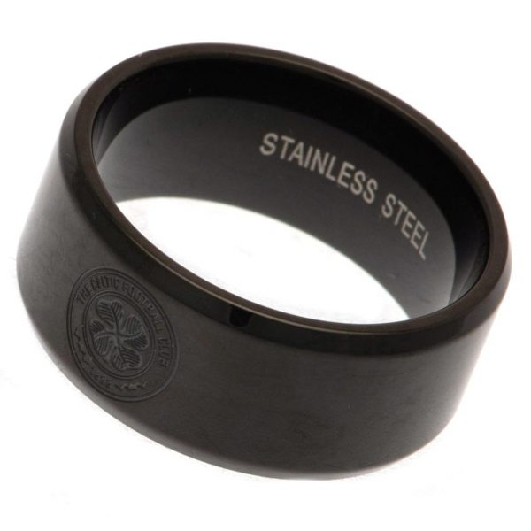 Celtic FC Black IP Plated Ring Small