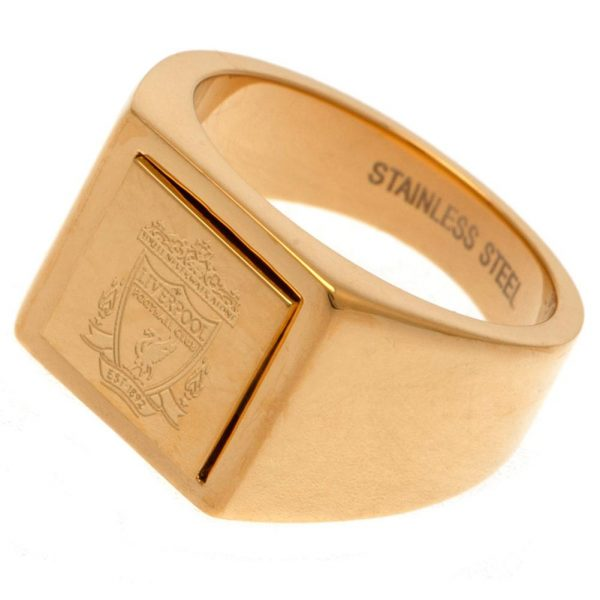 Liverpool FC Gold Plated Signet Ring Medium