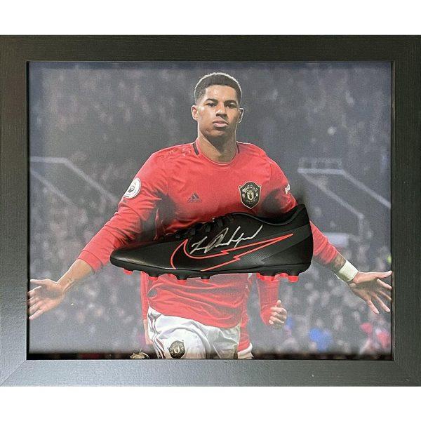 Manchester United FC Rashford Signed Boot (Framed)