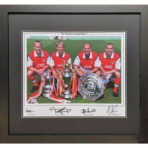 Arsenal FC Famous Back 4 Signed Framed Print