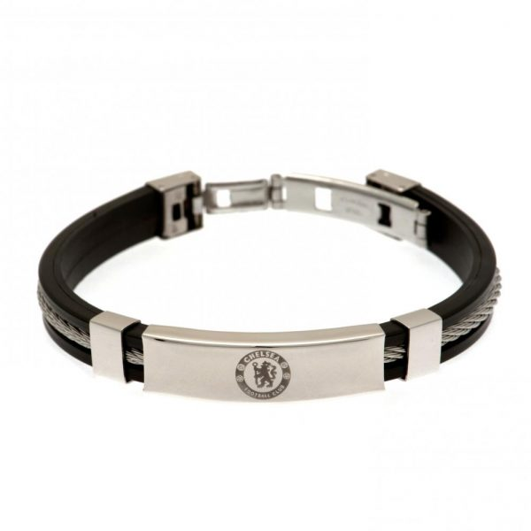 Chelsea FC Silver Inlay Silicone Bracelet