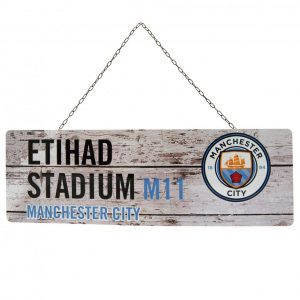 Manchester City FC Rustic Garden Sign