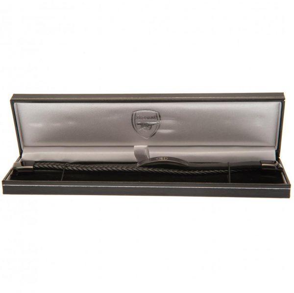 Arsenal FC Black IP Leather Bracelet