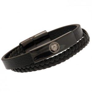 Manchester City FC Black IP Leather Bracelet