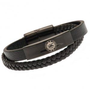 Chelsea FC Black IP Leather Bracelet