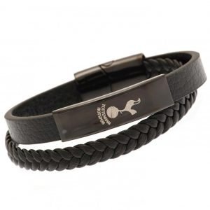 Tottenham Hotspur FC Black IP Leather Bracelet