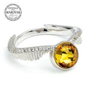 Harry Potter Sterling Silver Swarovski Ring Golden Snitch Small