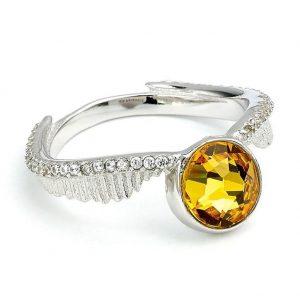 Harry Potter Sterling Silver Swarovski Ring Golden Snitch Medium