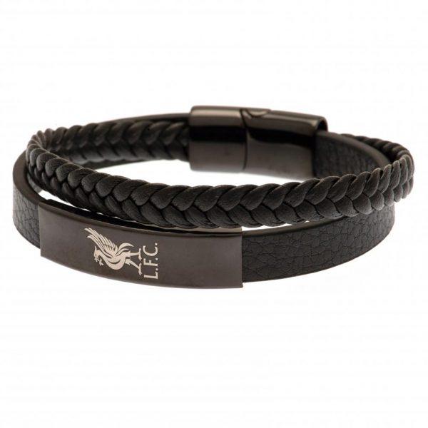 Liverpool FC Black IP Leather Bracelet